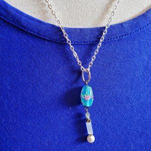 """18"""" Silver Tone Blue Floral Glass Bead Necklace"""